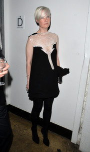 Kate Lanphear attended the Whitney Art Party wearing a little black dress with white net detailing.