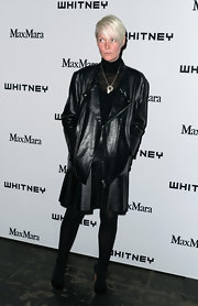 Kate Lanphear chose a black leather jacket to top off her cool monochromatic look at the Whitney Museum Annual Art Party.