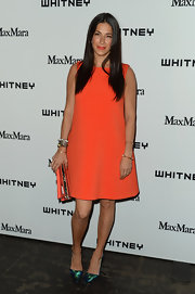 Rebecca Minkoff chose a tangerine trapeze dress for her chic and simple look at the Whitney Museum's Annual Art Party.