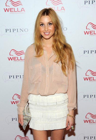 Whitney Port Button Down Shirt [clothing,hairstyle,cocktail dress,fashion,long hair,blond,dress,shoulder,eyelash,waist,whitney port,media personality,new york city,wella professionals flagship salon,pipino 57 - wella professionals flagship salon,opening,pipino 57 - wella professionals flagship salon grand opening]
