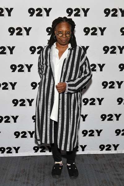 Whoopi Goldberg Printed Coat [clothing,fashion,outerwear,black-and-white,fashion design,street fashion,footwear,photography,style,shoe,whoopi goldberg,abbi jacobson,ilana glazer in conversation with,ilana glazer,conversation,new york city,92nd street y]