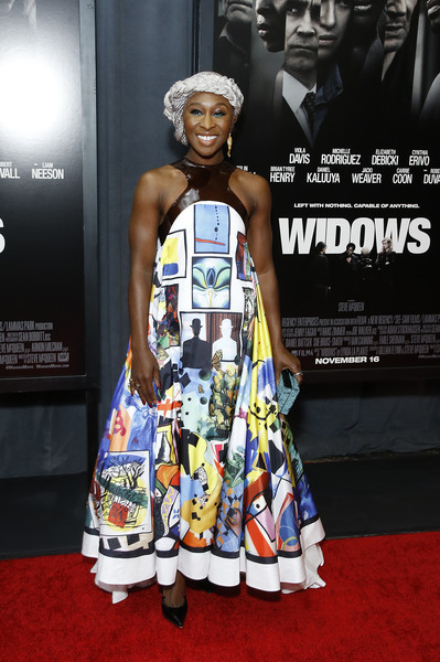 Cynthia Erivo was a graphic explosion in this printed tent dress by Mary Katrantzou at the special screening of 'Widows.'