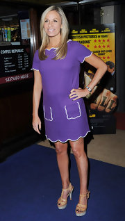 Tamsin Outhwaite attended the premiere of 'Wild Bill' in London wearing a pair of tan platform sandals.