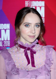 Zoe Kazan wore her hair in an old-school updo at the BFI London Film Festival premiere of 'Wildlife.'