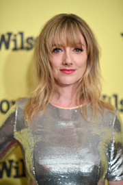 Judy Greer looked hip with her messy waves and eye-grazing bangs at the New York screening of 'Wilson.'