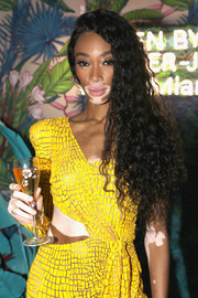 Winnie Harlow looked fab with her side-swept curls at the L'Eden by Perrier-Jouët party.