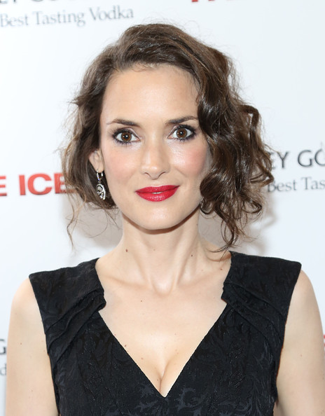 Winona Ryder Red Lipstick [hair,lip,hairstyle,eyebrow,chin,beauty,shoulder,long hair,dress,brown hair,the iceman,winona ryder,screening,new york,chelsea clearview cinemas,grey goose,millennium entertainment,screening]