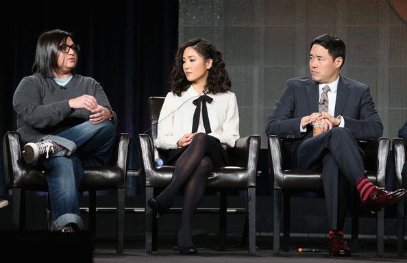 More Pics of Constance Wu Pussybow Blouse (5 of 23) - Tops Lookbook - StyleBistro [nahnatchka khan,writer,actors,randall park,l-r,panel,portion,fresh off the boat,event,conversation,performance,drama,sitting,white-collar worker,winter tca tour,press tour]