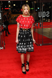 Peaches Geldof amped up the cuteness with a pair of black satin ankle-wrap pumps.