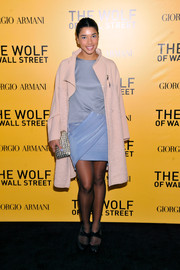 Hannah Bronfman's pale-pink wool coat and blue silk dress at the 'Wolf of Wall Street' NYC premiere were a very classy combination.