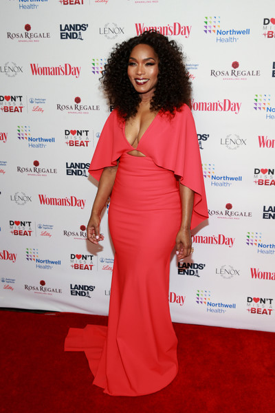 Angela Bassett was a knockout in a caped cutout gown by Great Constantine at the Red Dress Awards.