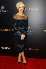 Helen Mirren looked as classy as ever in a bedazzled blue sheer-panel dress by Badgley Mischka at the 'Woman in Gold' premiere.