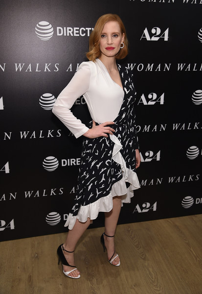 More Pics of Jessica Chastain Red Lipstick (3 of 21) - Jessica Chastain Lookbook - StyleBistro [clothing,dress,cocktail dress,fashion,footwear,premiere,shoe,carpet,fashion model,style,jessica chastain,woman walks ahead,new york,whitby hotel,screening,new york screening]
