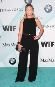 Elisabeth Rohm kept it minimal in a sleeveless black jumpsuit during the Crystal + Lucy Awards.