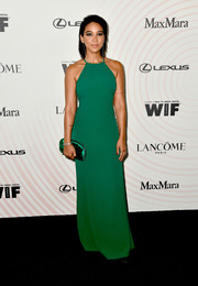 Alexandra Shipp kept it simple yet elegant in a green halter gown by Max Mara at the 2018 Crystal + Lucy Awards.