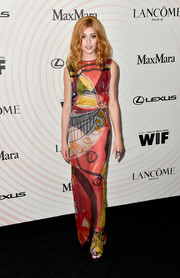 Katherine McNamara turned heads in a sheer graphic-print column dress by Hugo at the 2018 Crystal + Lucy Awards.