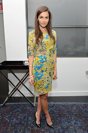 Camilla Belle's splotchy print cocktail dress at the Women's Filmmaker Brunch had a painterly feel while still being extremely chic.
