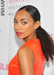 Logan Browning sported a ponytail with an off-center part at the Women Making History Awards.