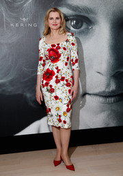 Geena Davis oozed feminine appeal in a floral sheath dress by Dolce & Gabbana at the Women in Motion Talks.