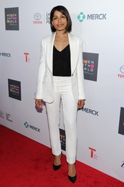 Freida Pinto was smart and sleek in a white Monique Lhuillier pantsuit during the Women in World Summit.