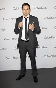 Feliz showed off his dashing grey suit while attending the Calvin Klein show.