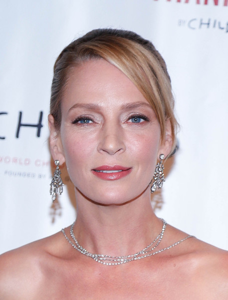 Uma Thurman opted for a classic updo with side-swept bangs when she attended the World Childhood Foundation 16th anniversary.