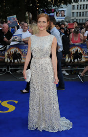 Sophie Evans sparkled in an elegant, sleeveless gown.