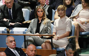 Melania Trump was business-chic in a gray pantsuit by Calvin Klein at the United Nations General Assembly.