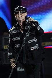 Klaus Meine oozed style and elegance in his embellished black military jacket.