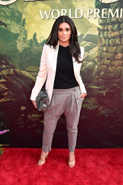 Rachel Roy looked hip in gray drop-crotch pants and a white blazer at the world premiere of 'The Jungle Book.'