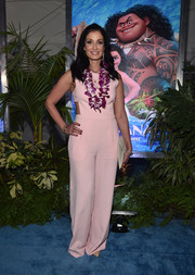 Dayanara Torres attended the world premiere of 'Moana' wearing a baby-pink jumpsuit with waist cutouts.