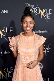 Yara Shahidi got blinged up with a statement ring and some gold bracelets for the premiere of 'A Wrinkle in Time.'