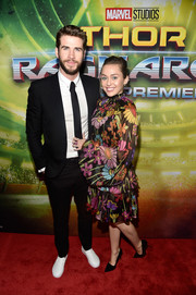 Miley Cyrus was hippie-chic in this colorful floral frock by Maria Escote at the premiere of 'Thor: Ragnarok.'