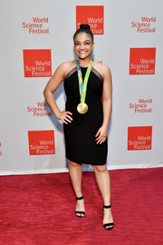 Laurie Hernandez sheathed her athletic figure in a fitted black halter dress for the 2017 World Science Festival.