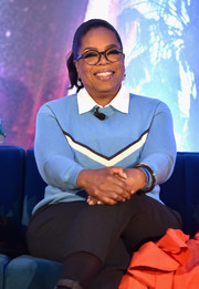 Oprah Winfrey was preppy in a chevron-striped sweater at the press conference for 'A Wrinkle in Time.'