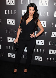 Kim Kardashian seems to be everywhere these days. She paired her pumps with a black jumpsuit.