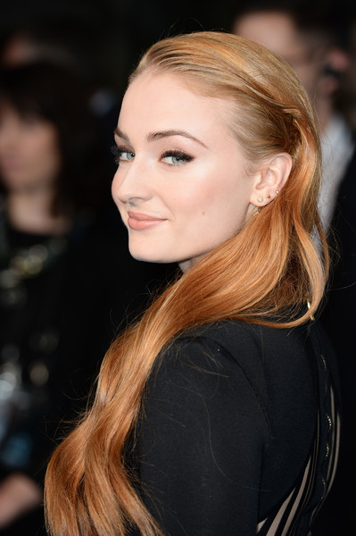 More Pics of Sophie Turner Long Wavy Cut (1 of 6) - Sophie Turner Lookbook - StyleBistro [x-men apocalypse,hair,hairstyle,face,eyebrow,blond,lip,chin,long hair,beauty,brown hair,red carpet arrivals,sophie turner,england,london,bfi imax,global fan screening]