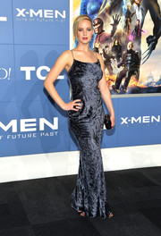 Jennifer Lawrence sheathed her svelte figure in a slinky gray velvet gown by Jason Wu for the 'X-Men' world premiere.