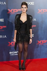 Amaia Salamanca topped her dress with a hip leather jacket at the Madrid premiere of 'XP3D.'