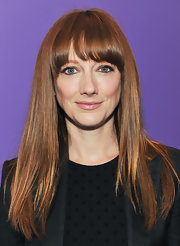 At a Yahoo! launch event for original video programming Judy Greer wore her long locks straight and super shiny with eye-enhancing brow-length bangs.