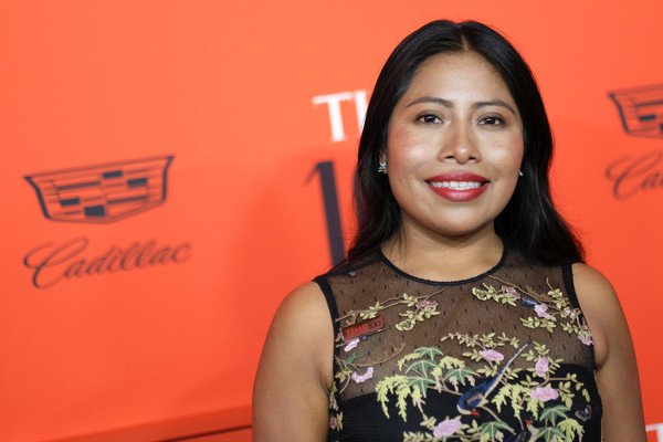 Yalitza Aparicio Long Straight Cut [red carpet,face,red,head,beauty,chin,lip,smile,fun,happy,black hair,yalitza aparicio,time 100 gala,time 100 gala red carpet,jazz,new york city,lincoln center]