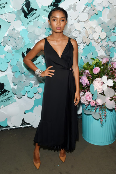 Yara Shahidi Pumps [clothing,dress,shoulder,turquoise,cocktail dress,formal wear,fashion,fashion model,gown,fashion design,yara shahidi,believe in dreams campaign launch,new york city,tiffany co,paper flowers event,event,campaign launch]