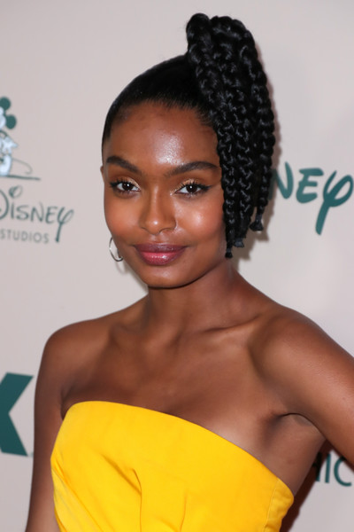 Yara Shahidi Braided Updo [hair,hairstyle,black hair,beauty,long hair,bun,croydon facelift,cornrows,eyelash,lace wig,arrivals,yara shahidi,hair,hair,hairstyle,beauty,the beverly hilton hotel,california,walt disney company,golden globe awards post-show celebration,yara shahidi,special agent oso,50th naacp image awards,television,serialzone,actor,grown-ish,black-ish]