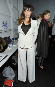 Paz was ultra-sophisticated in a white pant suit over a black cami at the Yigal Azrouel NY fashion show.