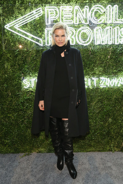 Yolanda Hadid Cape [photo,clothing,outerwear,fashion,footwear,coat,overcoat,street fashion,knee-high boot,costume,boot,pencils of promise annual gala 2017,yolanda hadid,monica schipper,pencils of promise annual gala,caption,central park,new york city,getty images]
