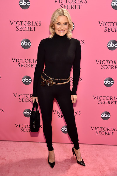 Yolanda Hadid Jumpsuit [pink,flooring,shoulder,fashion model,carpet,fashion,leggings,tights,joint,leg,pink carpet arrivals,yolanda hadid,new york,pier 94,victorias secret fashion show]