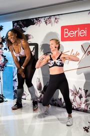 Serena Williams contrasted her sexy dance outfit with sporty footwear during the 'Do It for Yourself' Berlei campaign launch.