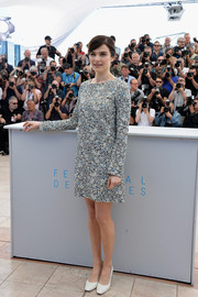 Rachel Weisz kept it modest in a long-sleeve floral shift dress during the 'Youth' photocall in Cannes.