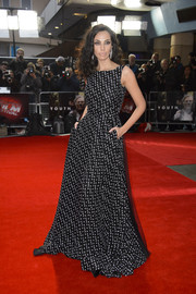Madalina Diana Ghenea chose a floor-sweeping dress in a classic black-and-white polka-dot print for her 'Youth' red carpet look at the BFI London Film Fest.