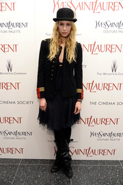 Marie de Villepin went for some menswear-chic flair with a stylish black military jacket at the 'Yves Saint Laurent' premiere.